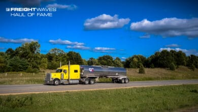 A Quality Carriers truck heads to its next stop. (Photo: Jim Allen/FreightWaves)