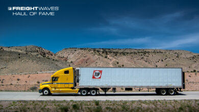 A TIP trailer being hauled by a Penske tractor. (Photo: Jim Allen/FreightWaves)