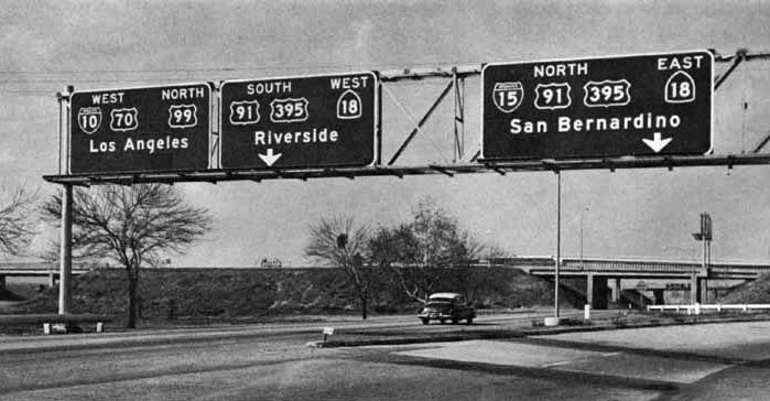 West I-10/US 70 and North US 99 at the San Bernardino Interchange. This was the temporary southern terminus of I-15 (later I-15E, I-215). Circa 1958. (Photo: AARoads, original attribute unknown)