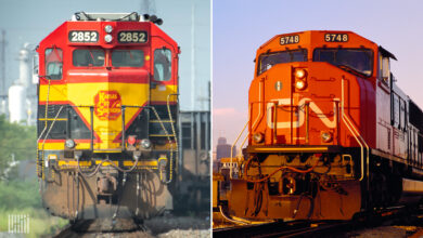 A composite image of two train locomotives.
