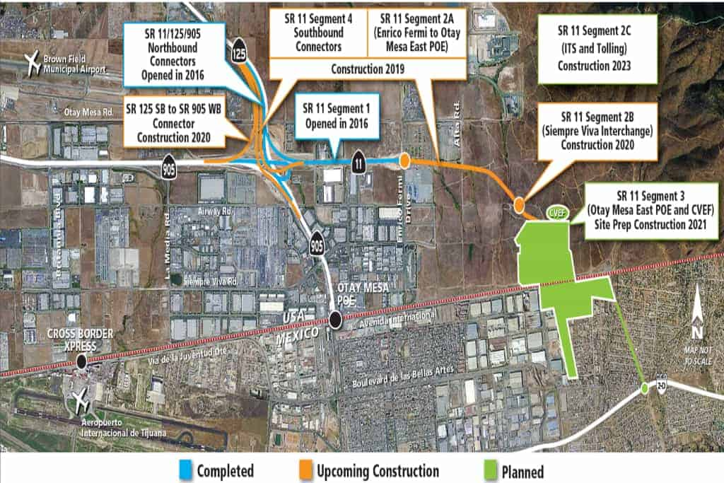 This photo/map shows completed/current/planned construction around the Otay Mesa LPOE. (Image: Otay Mesa Chamber of Commerce)