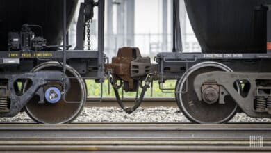 A photograph of freight railcar wheels.