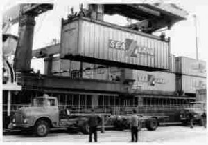 A Sea-Land container being loaded onto a flatbed trailer.  (Photo: Maersk)