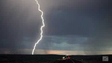 Lightning bolt coming down from a thunderstorm.