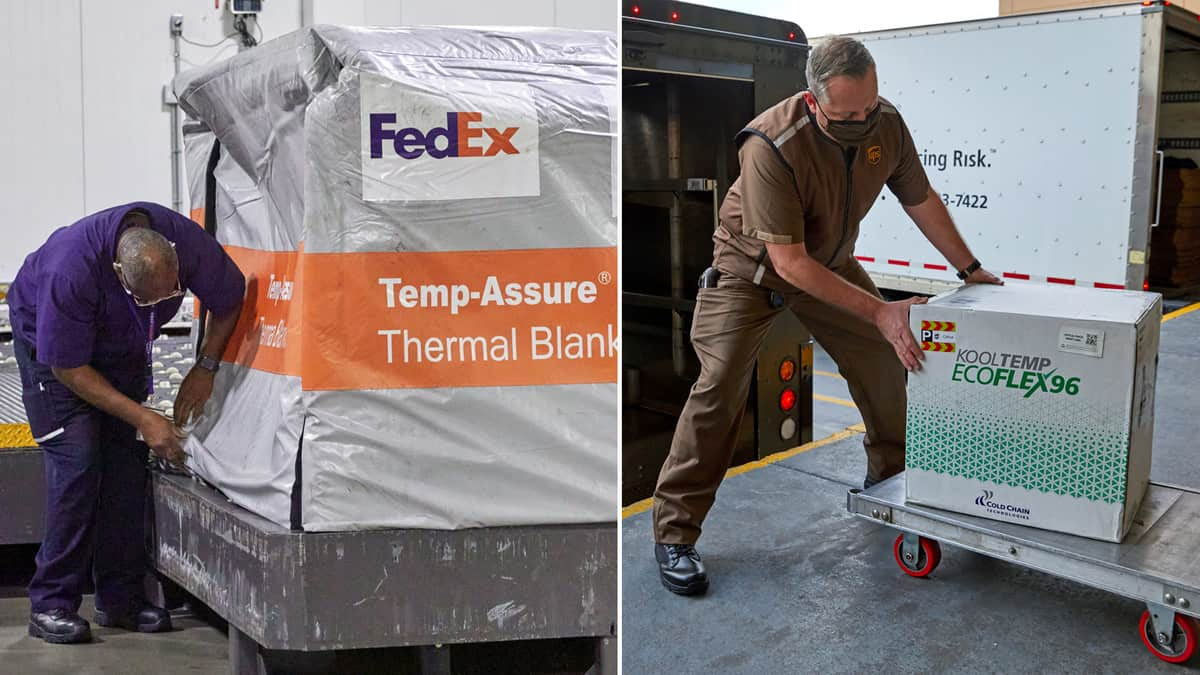 Composite photo of UPS and FedEx employees preparing COVID-19 vaccine shipments.
