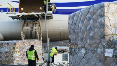 Workers load medical supplies from the U.S. Agency for International Development on to a plane bound for India. (Photo: USAID/Patrick Moore)
