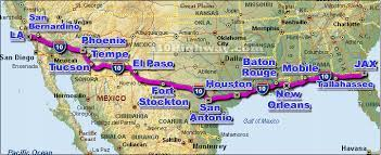 This map shows the route of I-10 and some of the cities it runs through or near. (Map: I10highway.com)