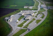 An aerial view of the Pembina U.S.-Canada border crossing, where two truck drivers were arrested.