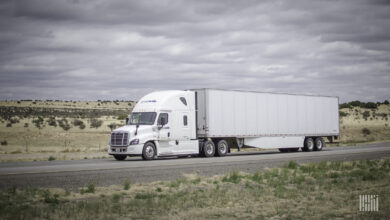 A tractor-trailer of Greatwide Truckload. A ransomware gang recently claimed it attacked the company.