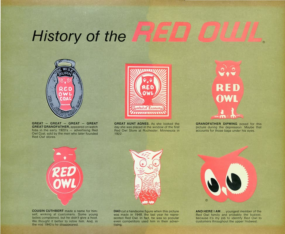 Various Red Owl logos over the years. Image courtesy of stewartredowl.com