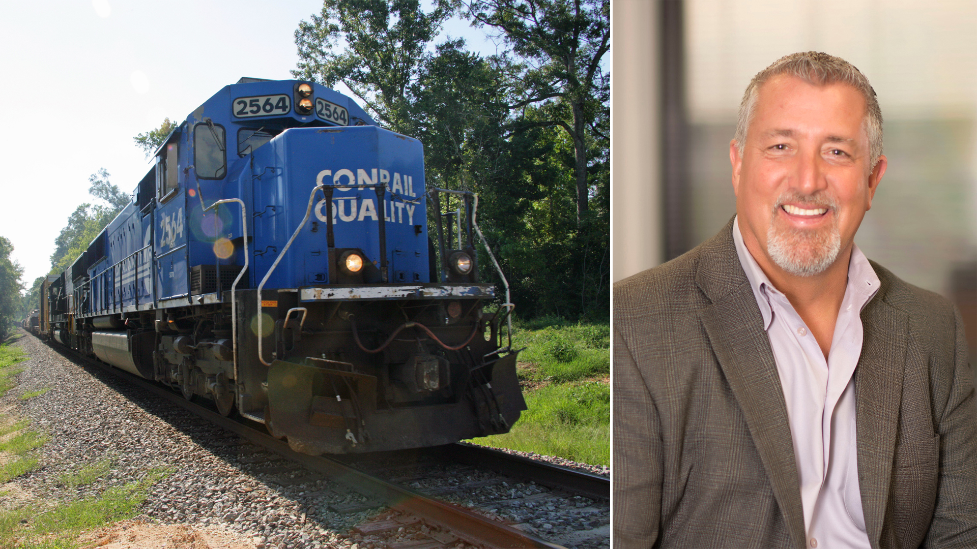 A composite image of two photographs. A Conrail train locomotive on the left and a man on the right.