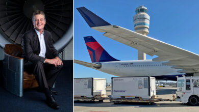 Refrigerated containers on the tarmac near the rear of a large white jet with a blue tail; split screen with a Delta executive on the other side.