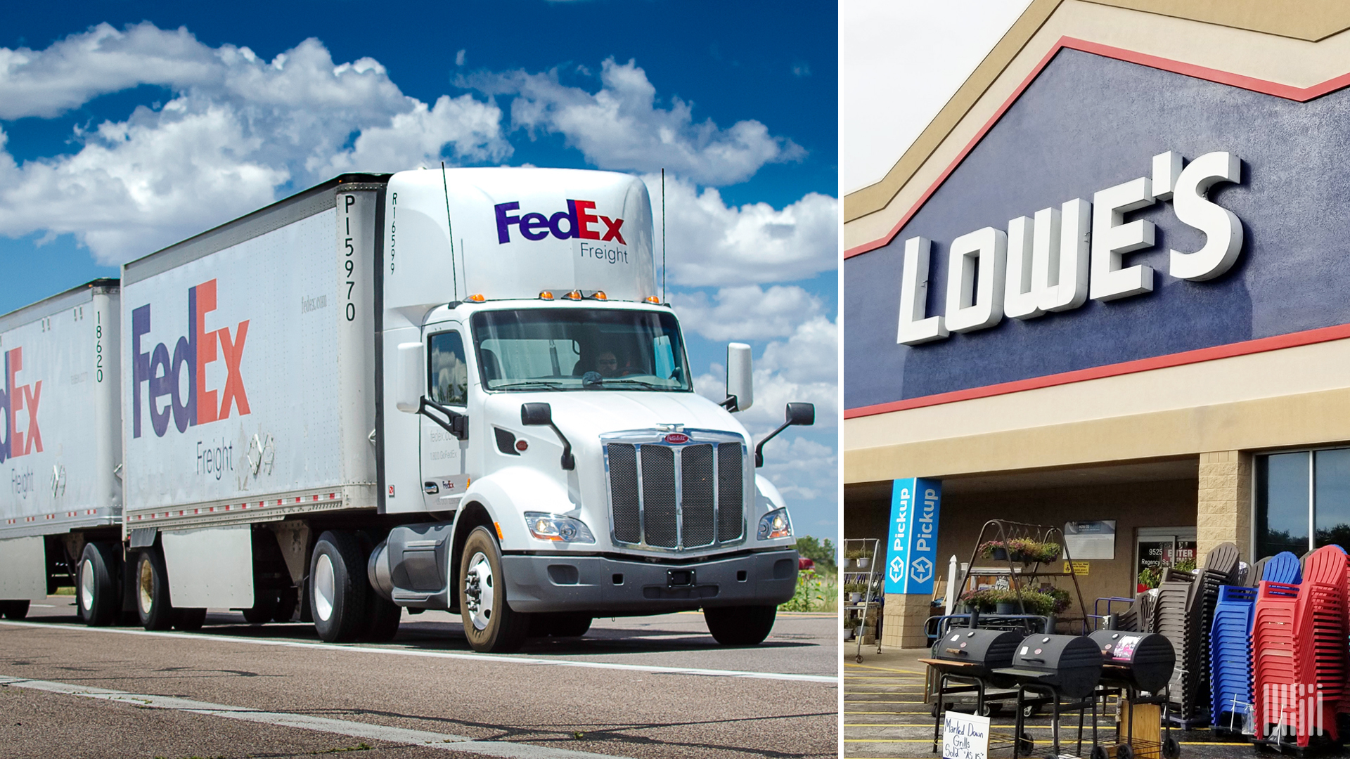 A FedEx tractor-trailer on left and a Lowe's store on the right.