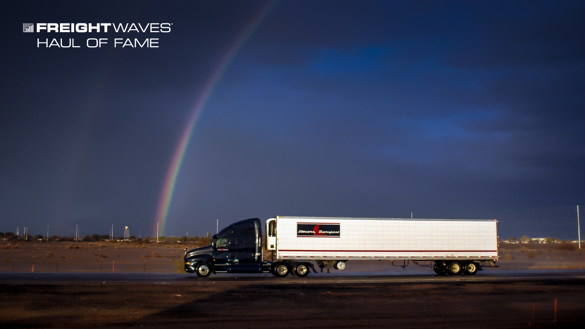 A Stevens Transport tractor-trailer appears to be chasing a rainbow. (Photo: Jim Allen/FreightWaves)