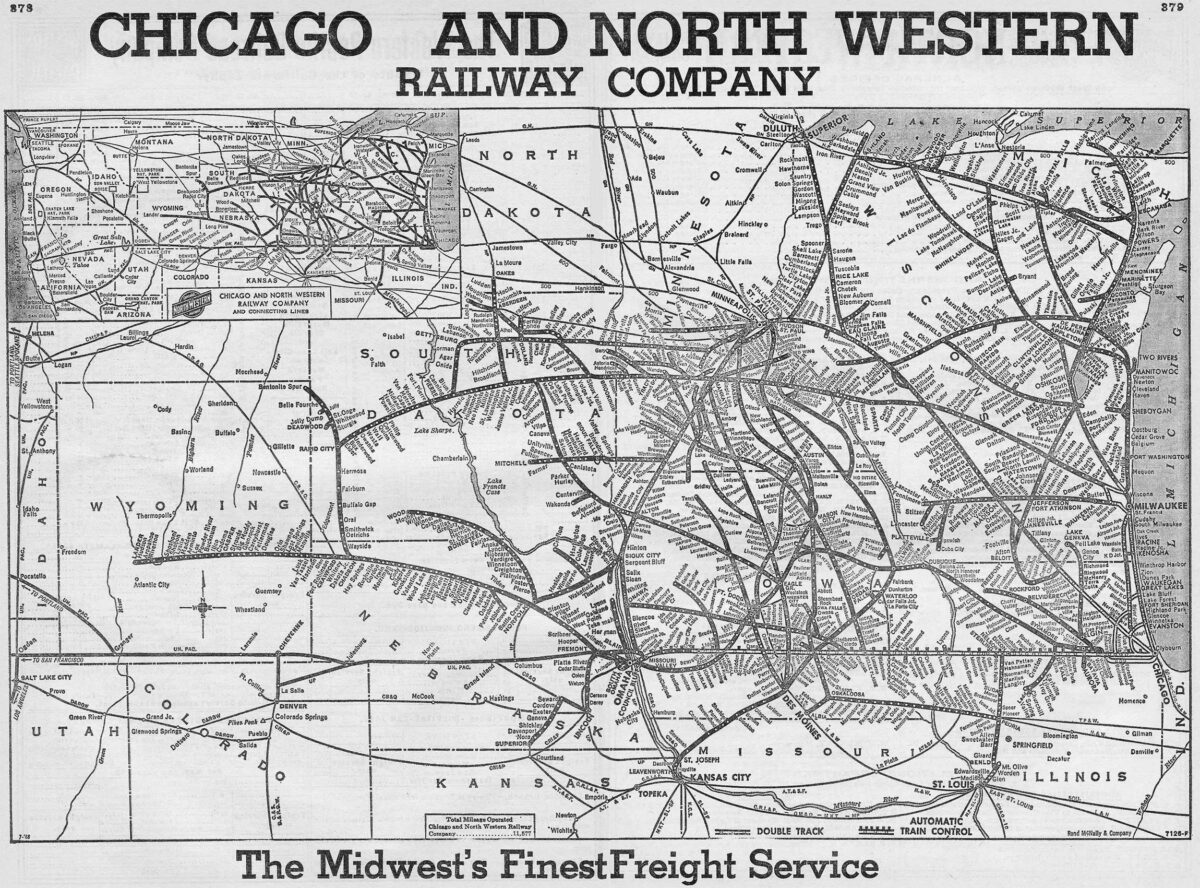 A system map for C&NW freight service from 1968.