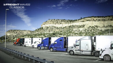 Parked trucks signal drivers are following FMCSA hours of service rules. (Photo: Jim Allen/FreightWaves)