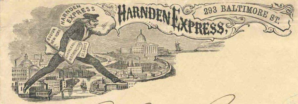 An advertisement for Harnden Express, the first express service. (Image: Alphabetilately.org)