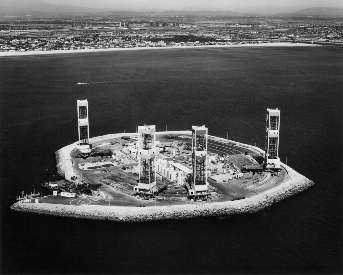 This photo shows construction of one of the oil islands in 1965 or 1966. Island Chaffee is nearly complete. (Photo: George Metivier)