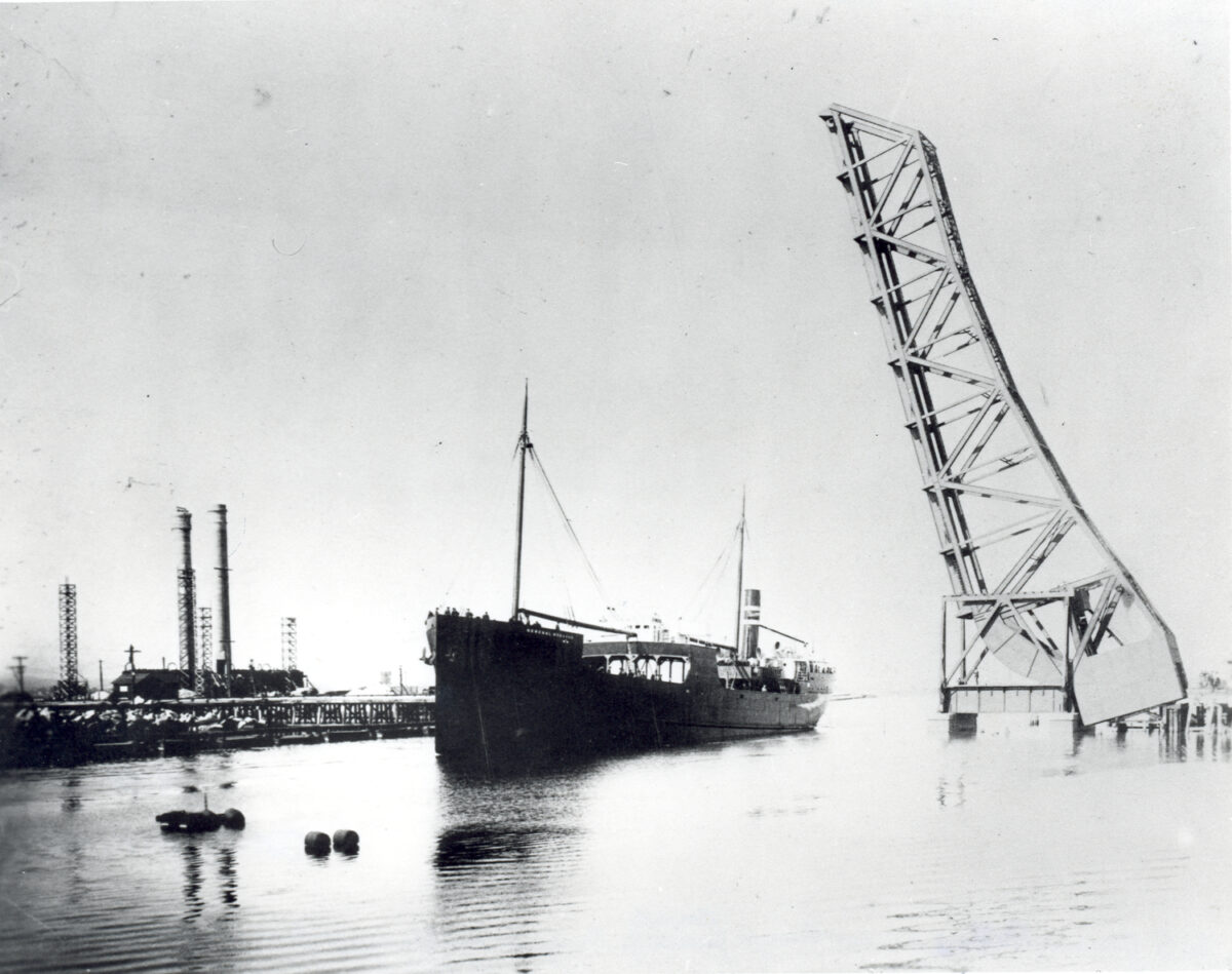The General Hubbard sails out of Long Beach Harbor under the jack-knife bridge sometime in the 1910s. The ship was the first steel-hulled ship built at the port. (Photo: Port of Long Beach)
