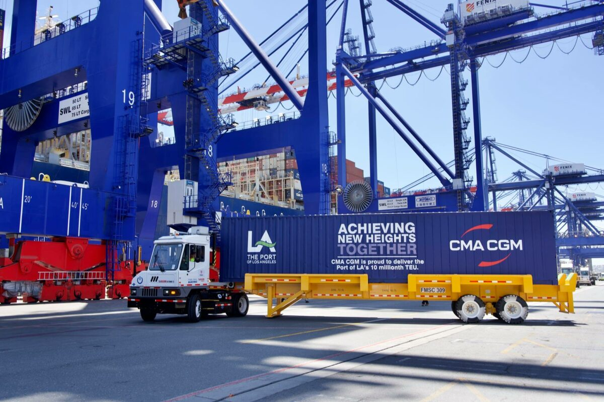 The Port of Los Angeles and CMA CGM celebrate the 10-millionth container processed in one year.  (Photo: Port of Los Angeles)