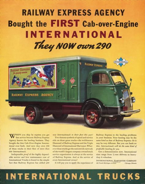 An advertisement for International Trucks that features an REA truck.  (Image: Wisconsin Historical Society)