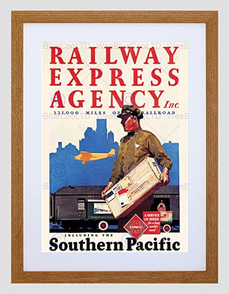 An advertisement for REA services via rail, air and truck.  (Image: Southern Pacific Railroad Museum)
