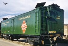 An REA refrigerated boxcar. The photo was taken at Taylor Yard in Los Angeles in February 1958. (Photo: SLO Railroad Museum)