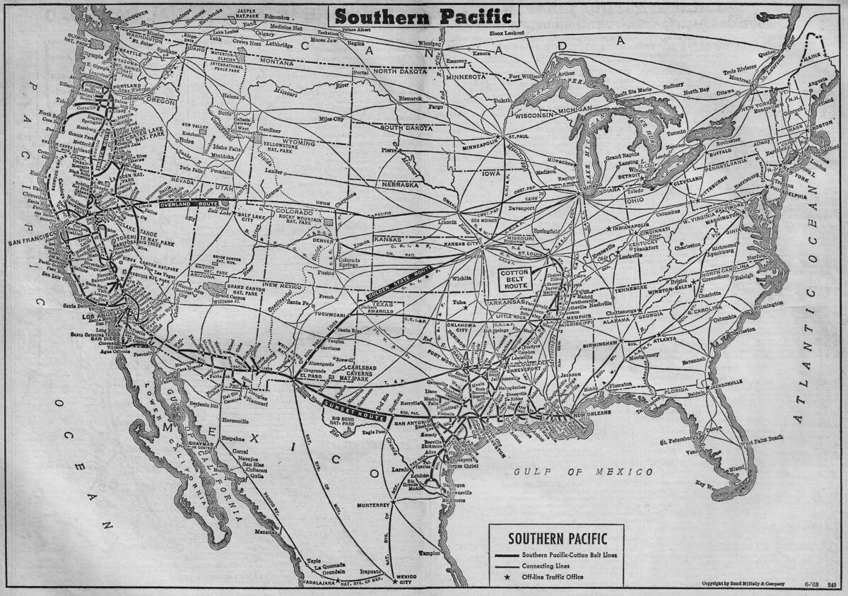 An official, 1968 system map of the Southern Pacific Railroad. Author's collection.