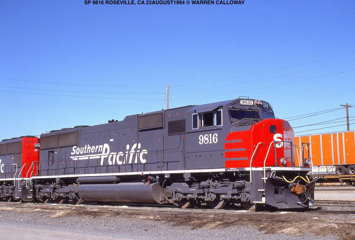 A new Southern Pacific SD70M at Roseville, California on August 23, 1994. (Photo: Warren Calloway/American-Rails.com)