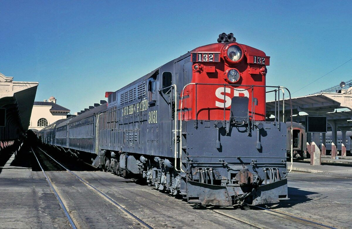July 1973, 4th & Townsend Depot in San Francisco with 'Train Master' #3031 ready to leave with commuter train #132.