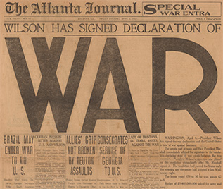 An example of newspaper coverage of U.S. declaration of war. (Photo: Library of Congress)