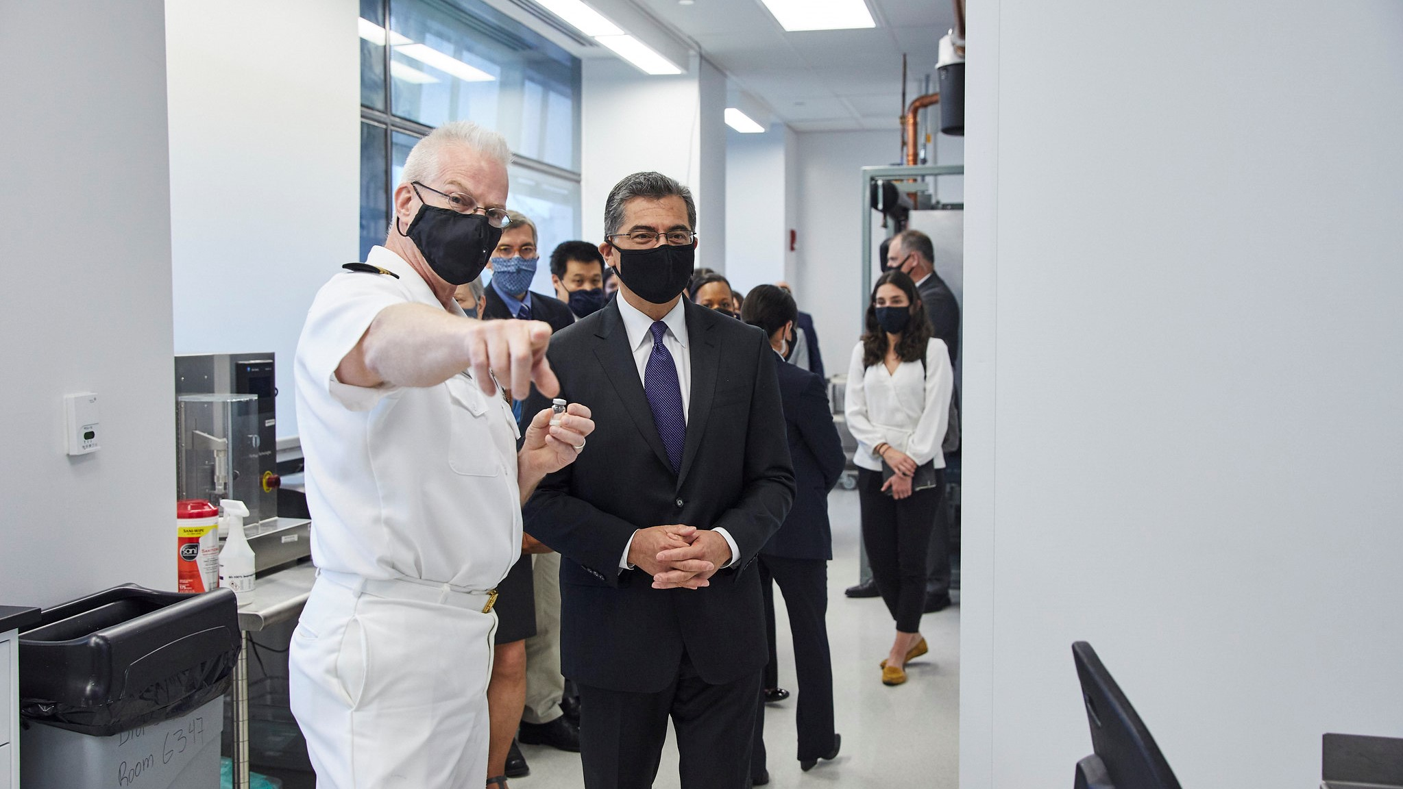 Health and Human Services Secretary Xavier Becerra met with FDA leaders in early May and visited an FDA lab. (Photo: FDA/Eli Kaplan)