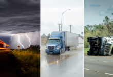 Collage of trucks in dramatic weather.
