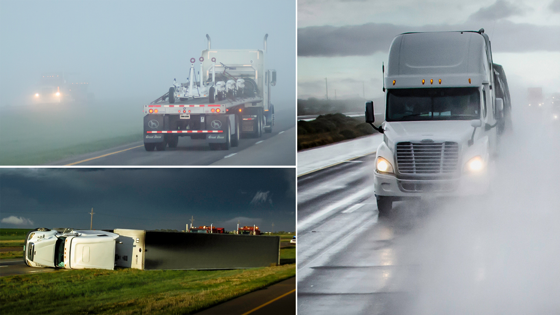 Montage of trucks in dramatic weather.