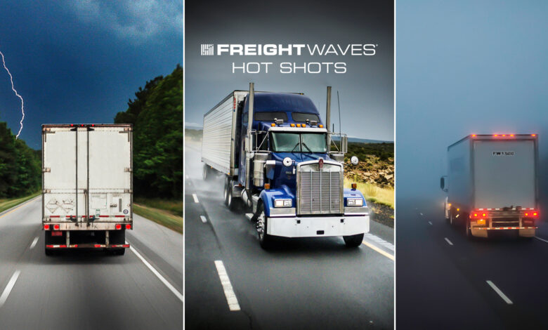 Montage of tractor-trailers in different kinds of weather.