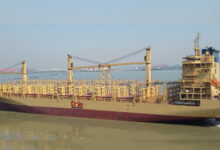 A photograph of a vessel carrying Dole freight containers.