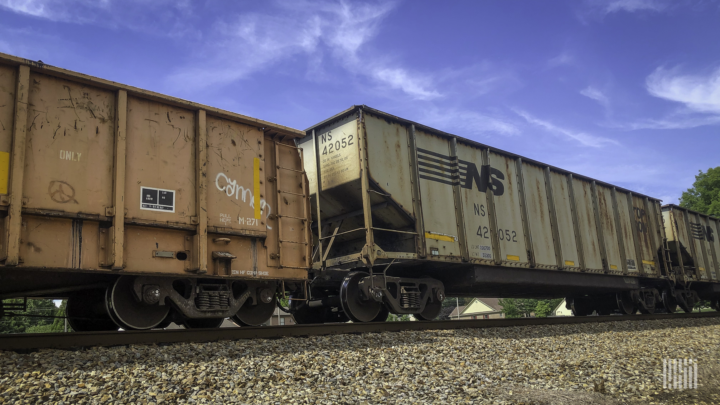 A photograph of a train rolling by.