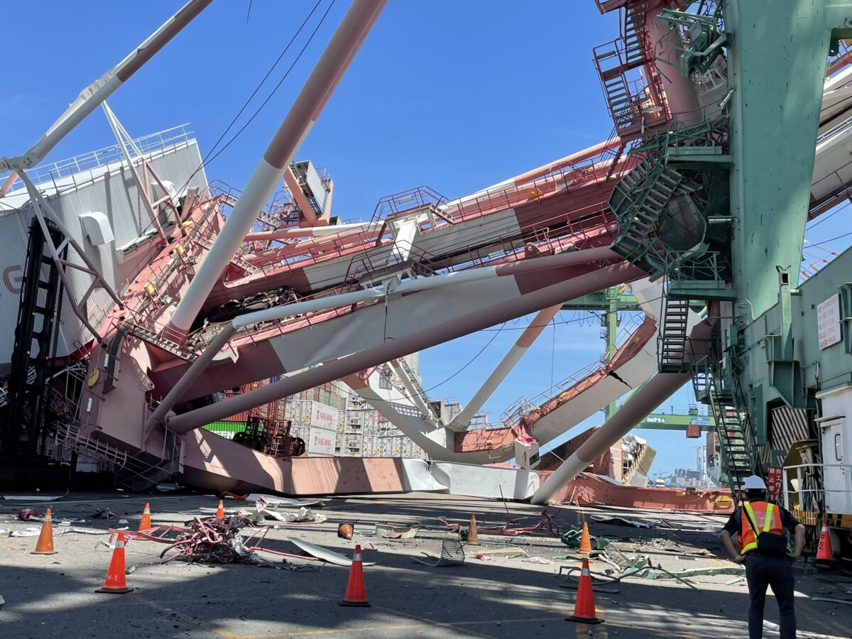 OOCL vessel blamed for crane collapse at Taiwan port