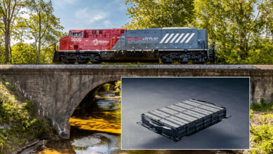 A composite image in which a photograph of an advanced battery is on top of a photo of a train crossing a bridge.