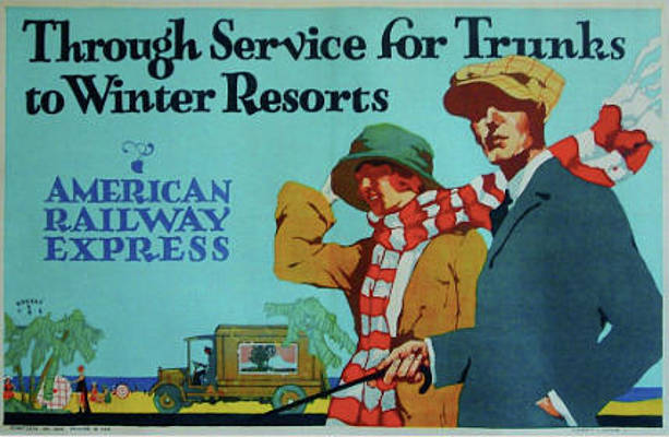 An advertisement for American Railway Express services.