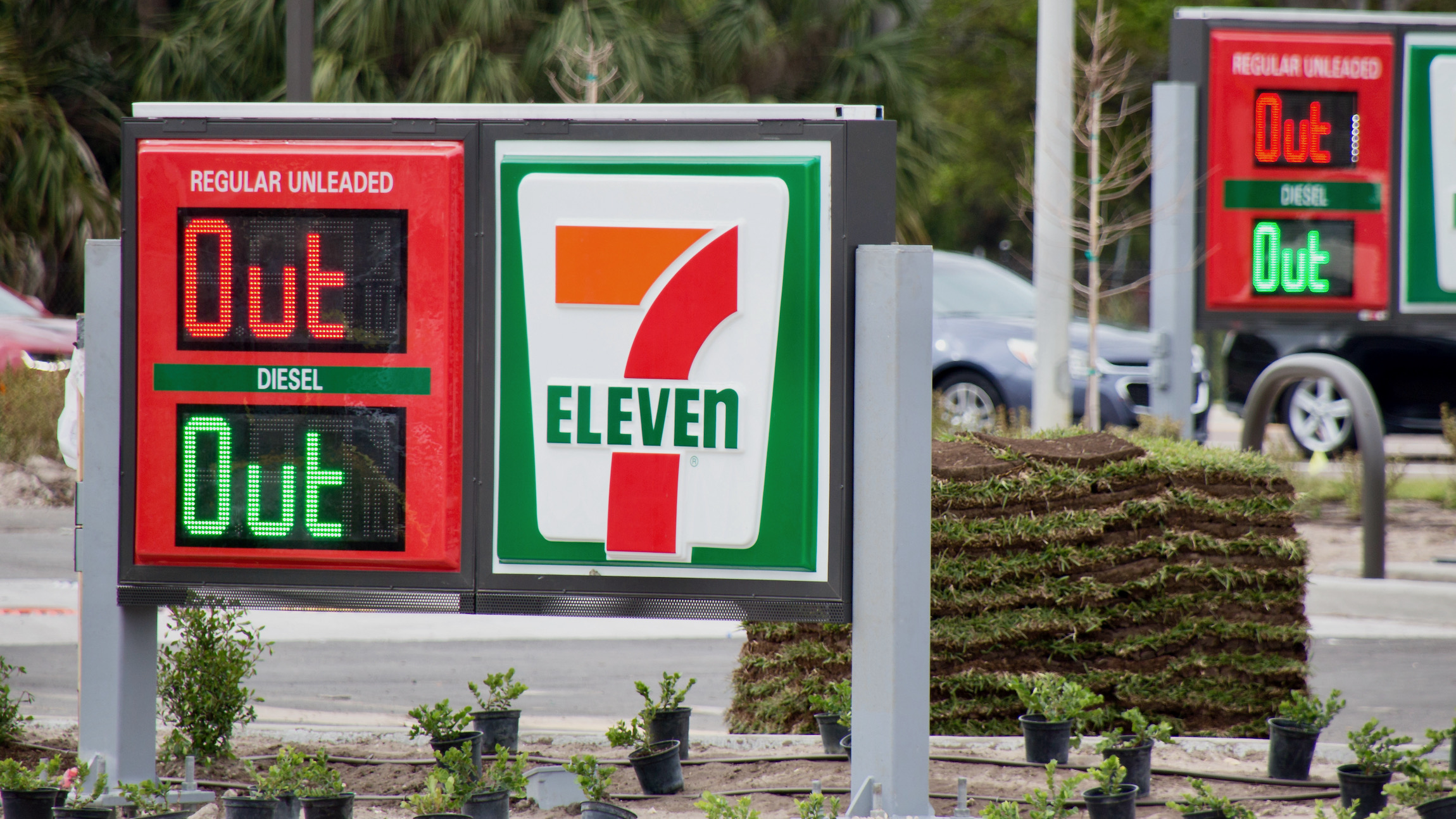 """A gas station sign says """"Out"""" because its tanks are empty. Amid the Colonial Pipeline Co. cyber attack and shutdown, the U.S. faces gasoline shortages and high gas prices."""