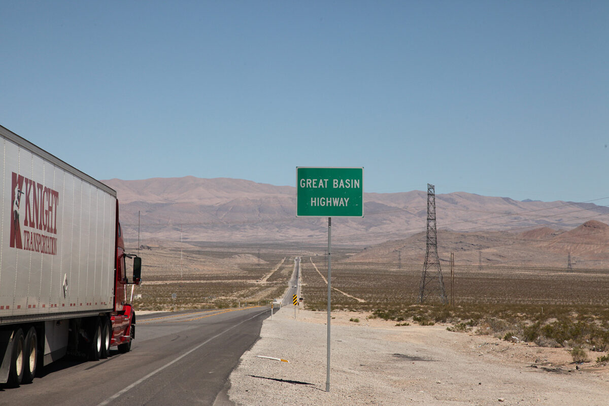 A Knight Transportation tractor-trailer on US 93 in Nevada, which is also known as the Great Basin Highway.  (Photo: Nevada Department of Transportation)