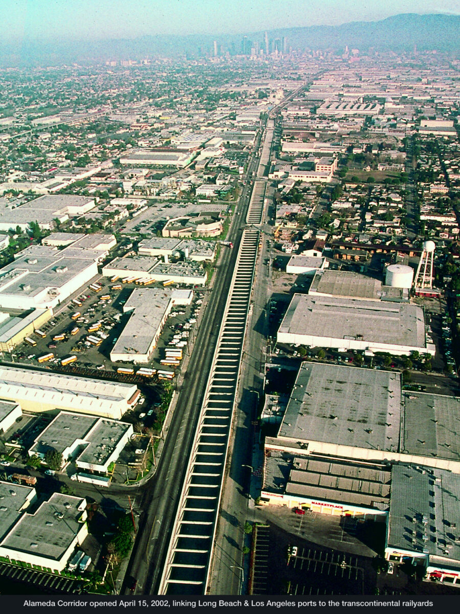 The Alameda Corridor opened in 2002, allowing freight trains to travel from the ports to transcontinental rail yards near downtown Los Angeles quickly, without disrupting road traffic. (Photo: Port of Long Beach)