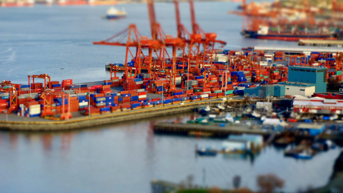A view overlooking shipping containers at the Port of Vancouver.