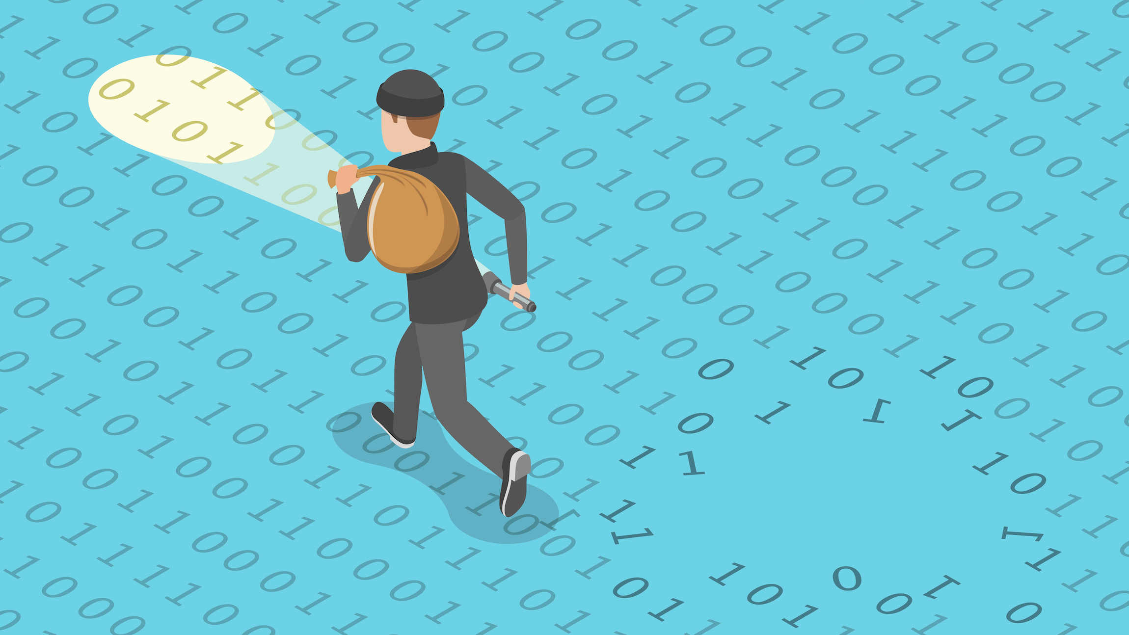 A illustration of a man in a burglar outfit running across 1s and 0s to illustrate data theft during a ransomware attack.