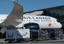 Front half of a white Air Canada jet, view from the side, with a cargo pallet in the foreground.
