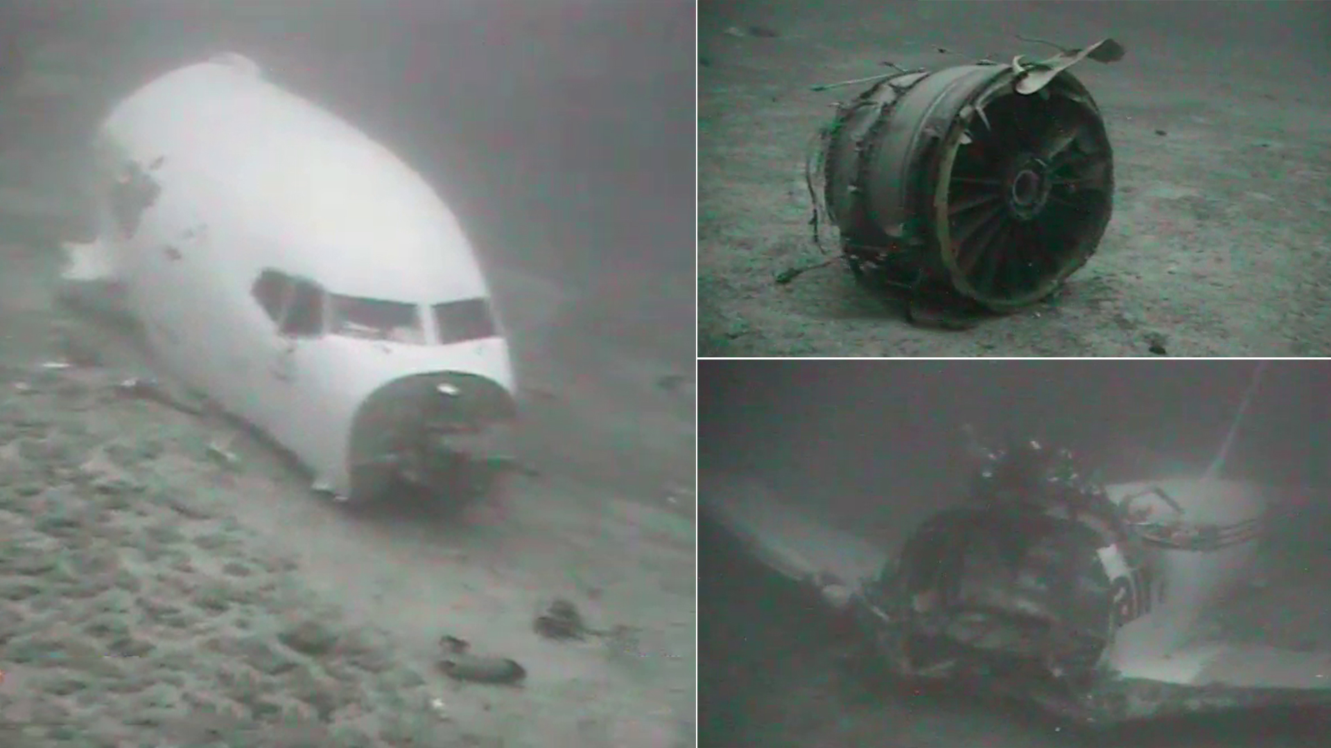 Images from NTSB of airliner fuselage at bottom of ocean, cracked up.