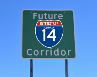 """A """"Future I-14 Corridor sign. (Photo: Youth Infrastructure Coalition)"""