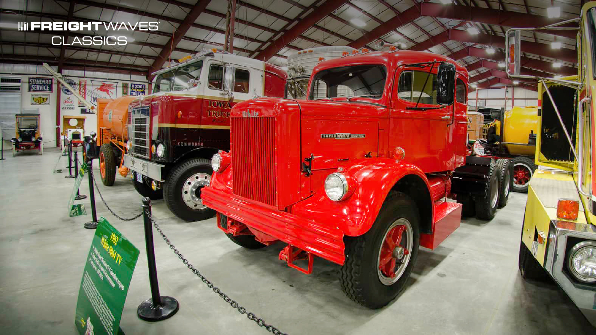 A 1962 White tractor at the Iowa 80 Trucking Museum looks ready to pull a trailer. (Photo: Jim Allen/FreightWaves)