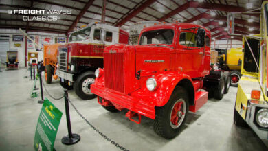 A 1962 White Motor Company tractor. (Photo: Jim Allen/FreightWaves @ Iowa 80 Trucking Museum)